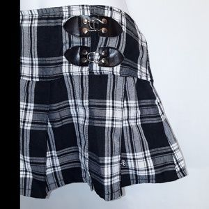 Royal Bones Skirts - Royal Bones Black and White Plaid Skirt